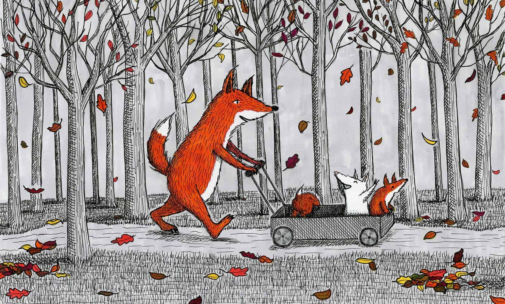 Fox family walk in the woods