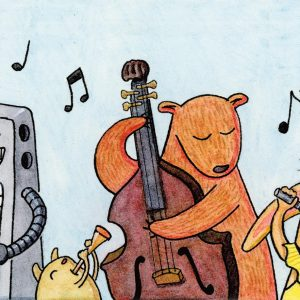 Animals and a robot playing music